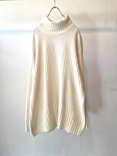 White Turtleneck Knit Sweater