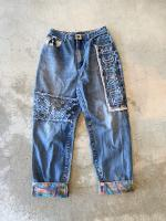 90s Major Damage Design Wide Jeans