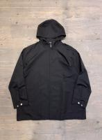 IZOD BLACK NYLON HOODED ZIPUP