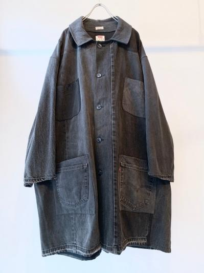 """remakebyk"" Paneled Denim Coat BLK"